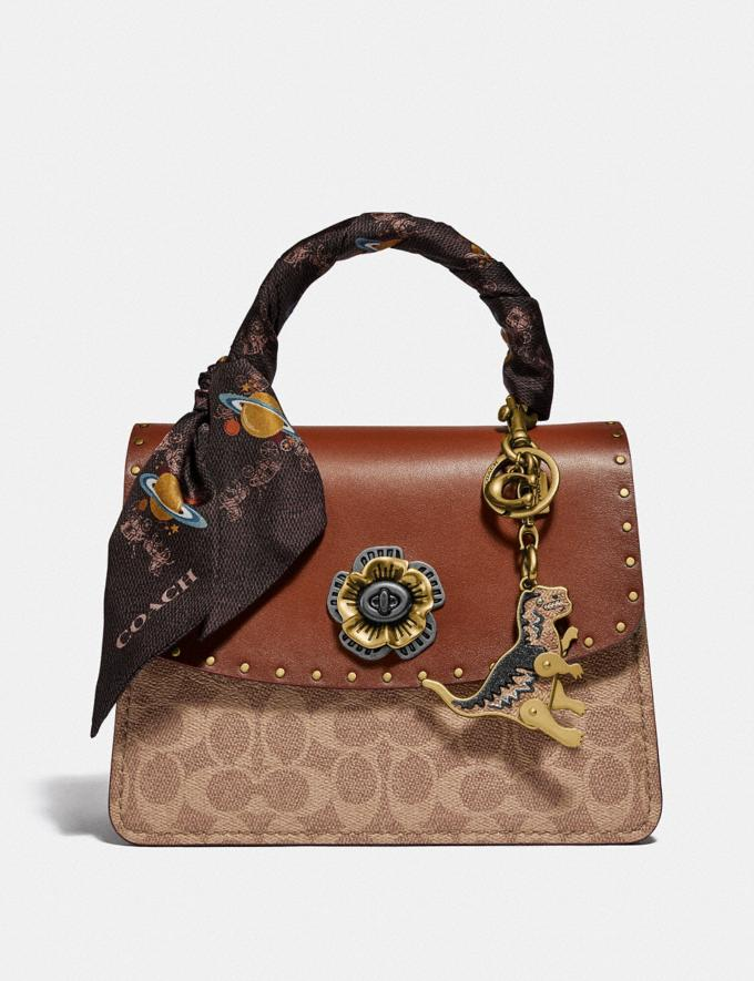 Coach Parker Top Handle in Signature Canvas With Rivets Tan/Black/Brass Women Bags Signature Bags Alternate View 3