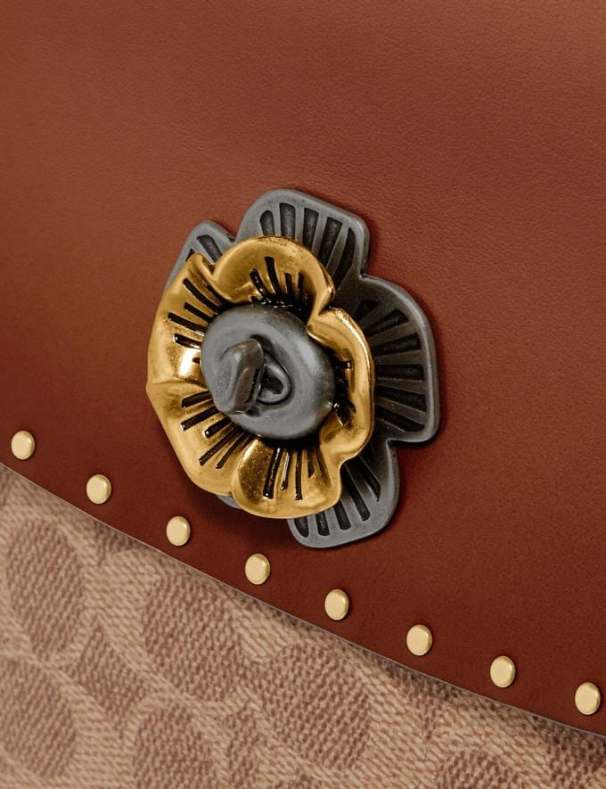 Coach Parker Top Handle in Signature Canvas With Rivets Tan/Black/Brass Women Collection Parker Alternate View 6