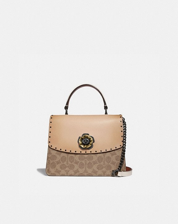 394d2714d7ae COACH  Parker Top Handle in Signature Canvas With Rivets