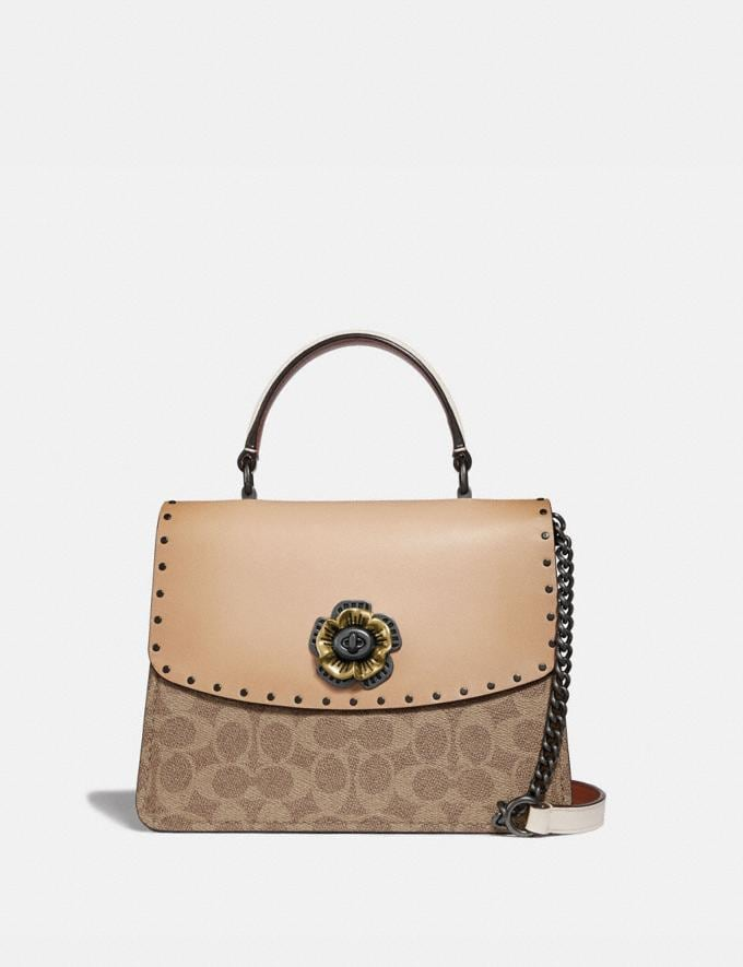 Coach Parker Top Handle in Signature Canvas With Rivets Tan Beechwood/Pewter Women Handbags