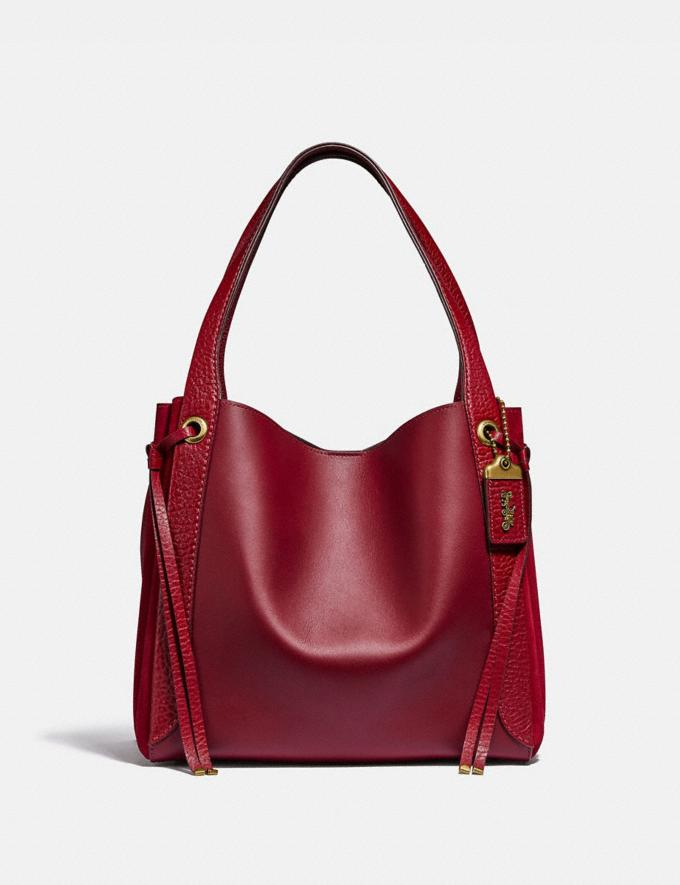 Coach Harmony Hobo Brass/Deep Red Women Handbags Shoulder Bags & Hobos