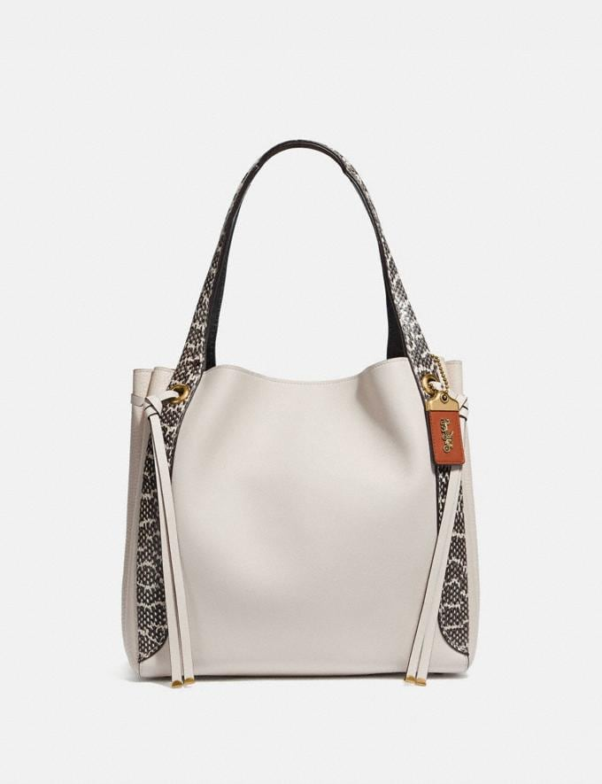 Coach Harmony Hobo in Colorblock With Snakeskin Detail Chalk/Brass Women Handbags Shoulder Bags & Hobos