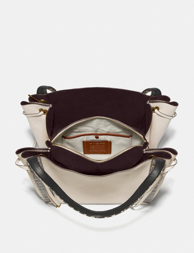 Coach Harmony Hobo in Colorblock With Snakeskin Detail Chalk/Brass Women Handbags Shoulder Bags & Hobos Alternate View 2