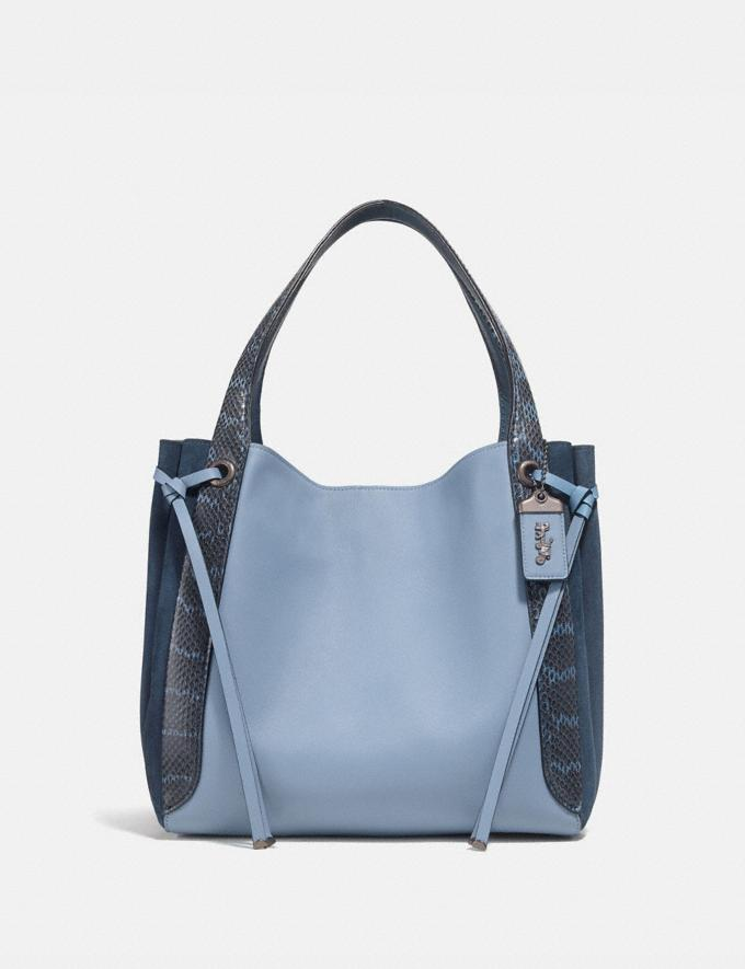 Coach Harmony Hobo in Colorblock With Snakeskin Detail Slate/Pewter New Featured Online-Only