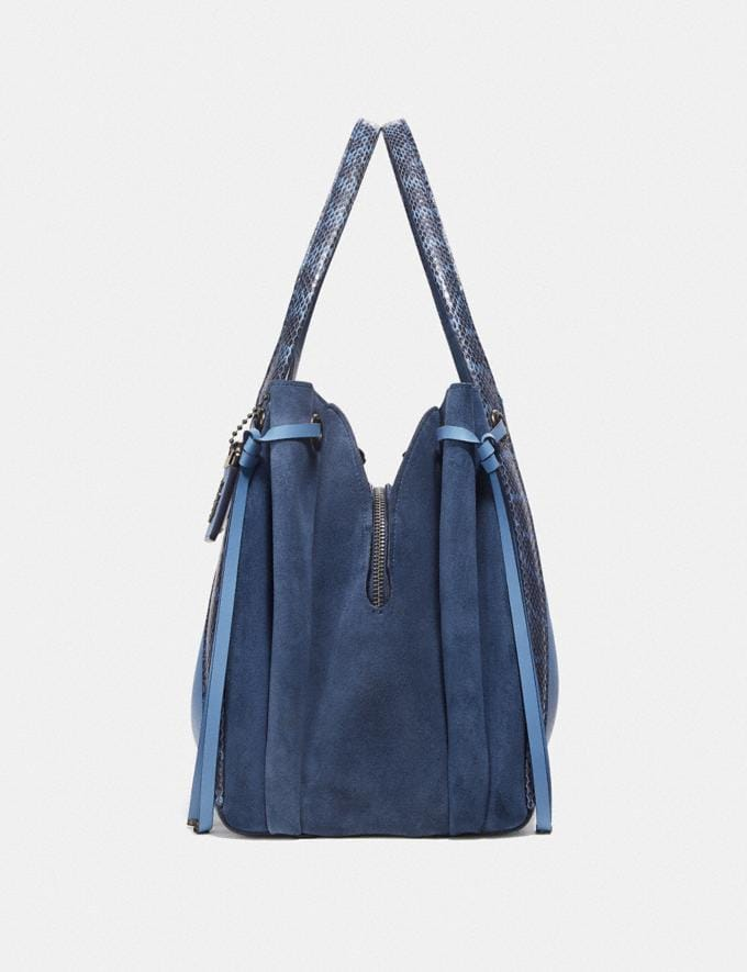 Coach Harmony Hobo in Colorblock With Snakeskin Detail Slate/Pewter New Women's New Arrivals Alternate View 1