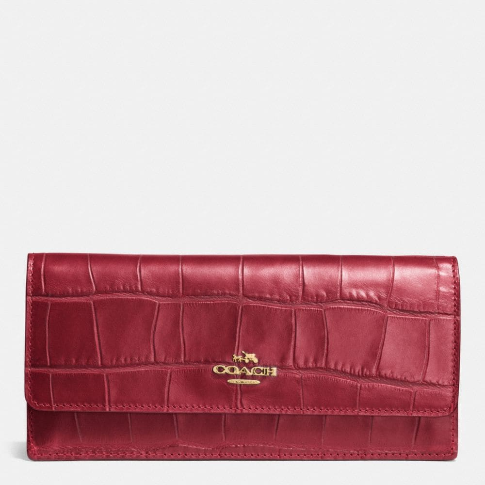 Soft Wallet in Croc Embossed Leather