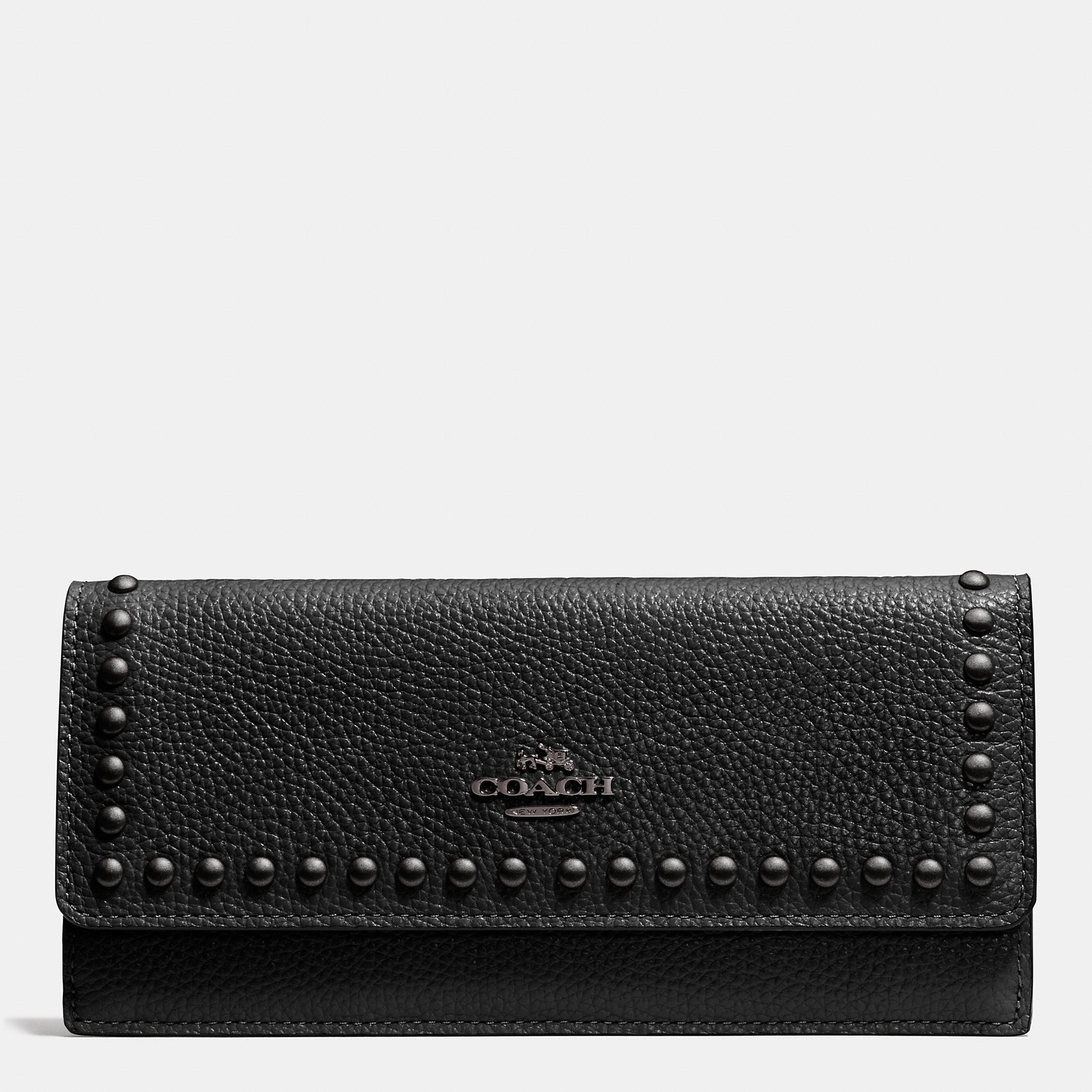 Coach Soft Wallet In Lacquer Rivets Pebble Leather