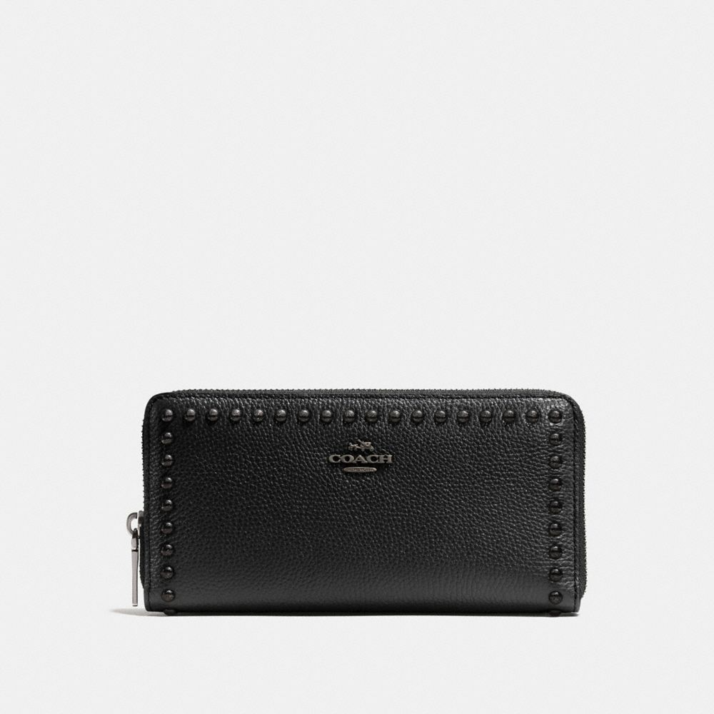 Accordion Zip Wallet in Lacquer Rivets Pebble Leather