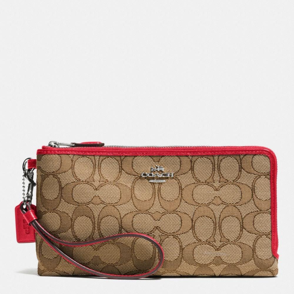 Double Zip Wallet in Signature Fabric