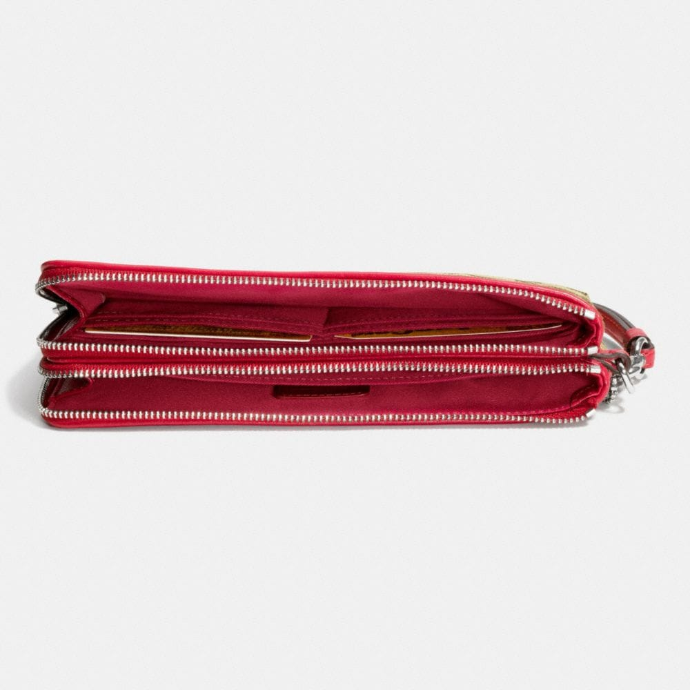 Double Zip Wallet in Signature Fabric - Alternate View L1