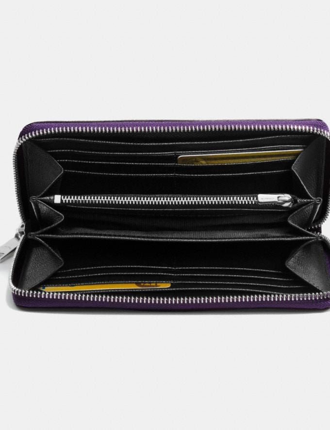 Coach Accordion Zip Wallet in Crossgrain Leather Violet/Silver Women Wallets Large Wallets Alternate View 1