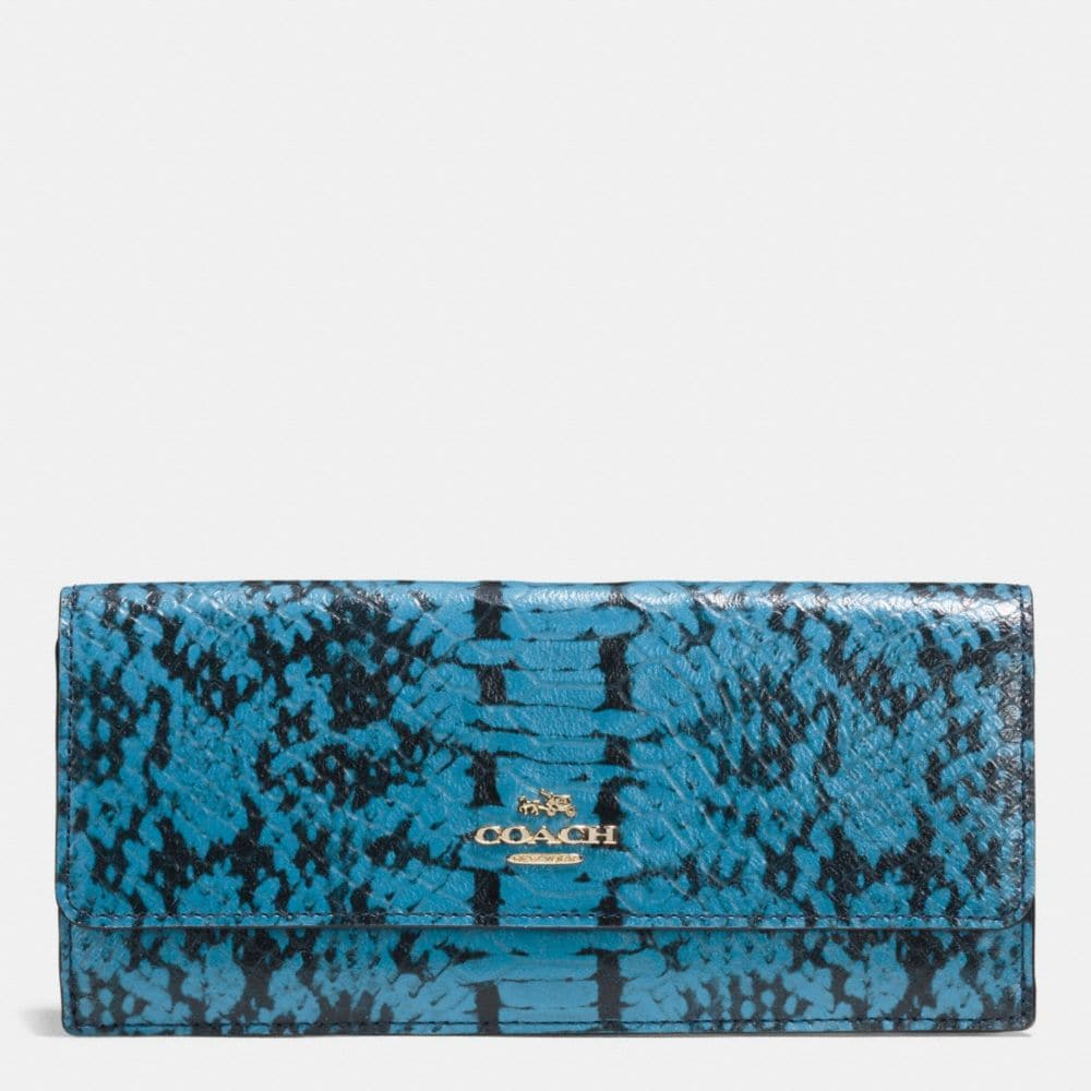 Soft Wallet in Colorblock Exotic Embossed Leather