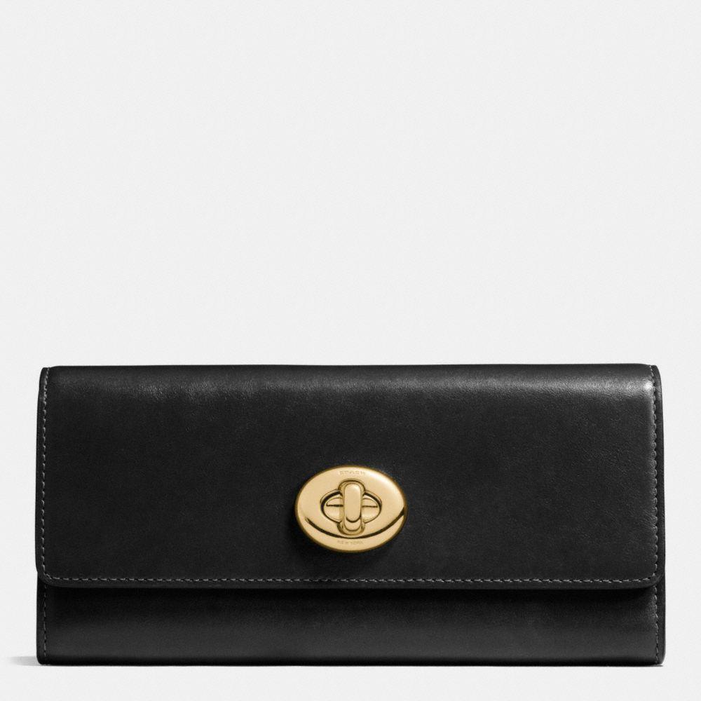 Turnlock Slim Envelope Wallet in Smooth Leather