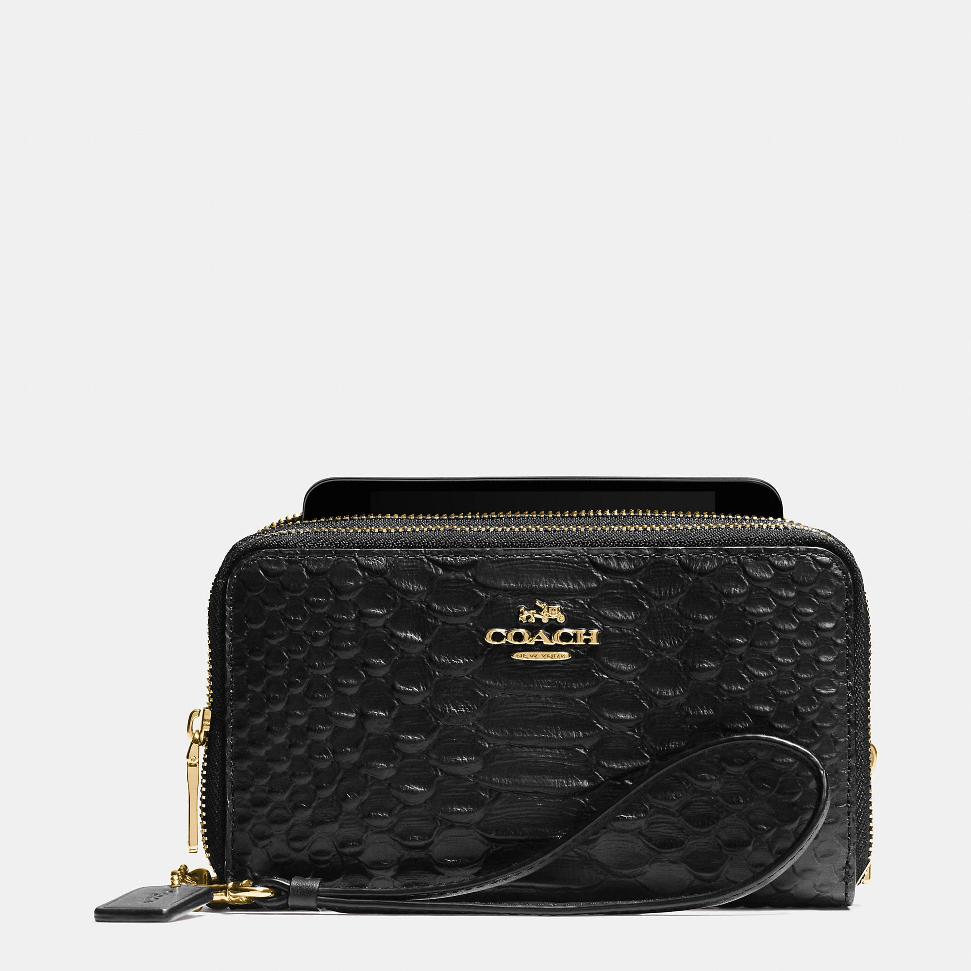 Coach Double Zip Phone Wallet In Snake Embossed Leather