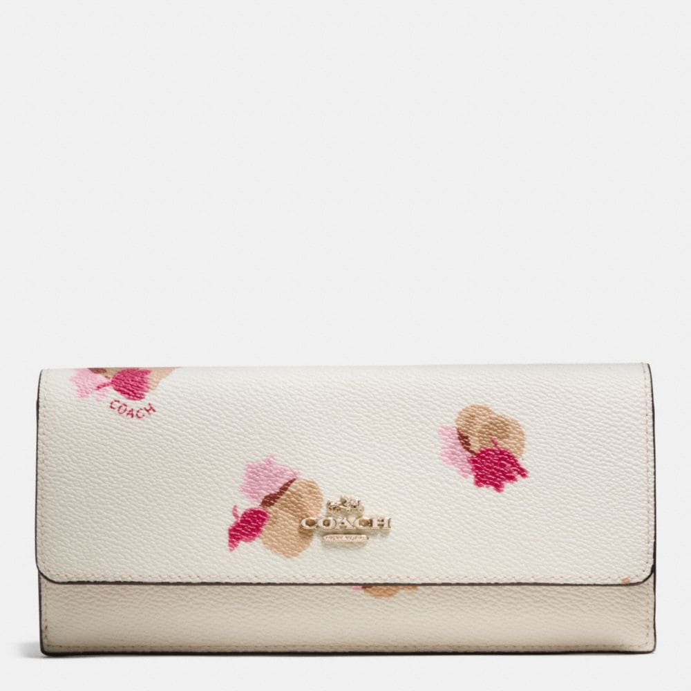 SOFT WALLET IN FLORAL PRINT COATED CANVAS