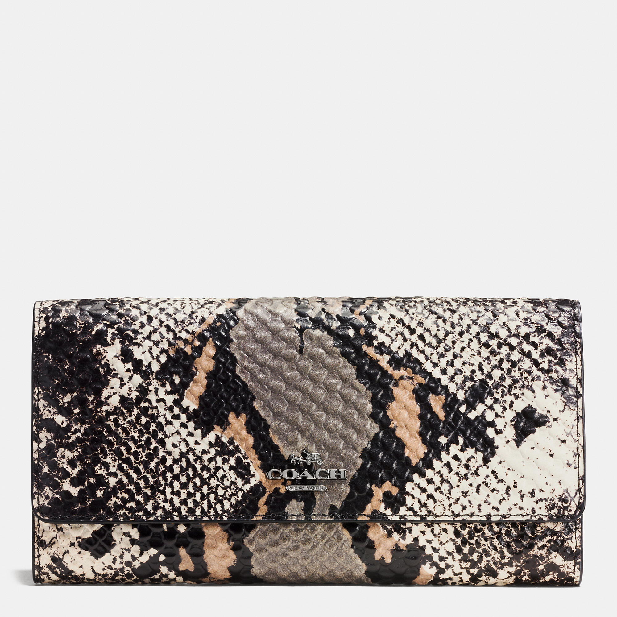 Coach Trifold Wallet In Exotic Embossed Leather