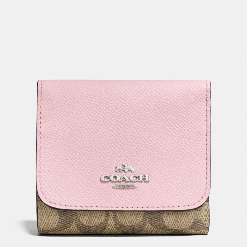 SMALL WALLET IN COLORBLOCK SIGNATURE COATED CANVAS