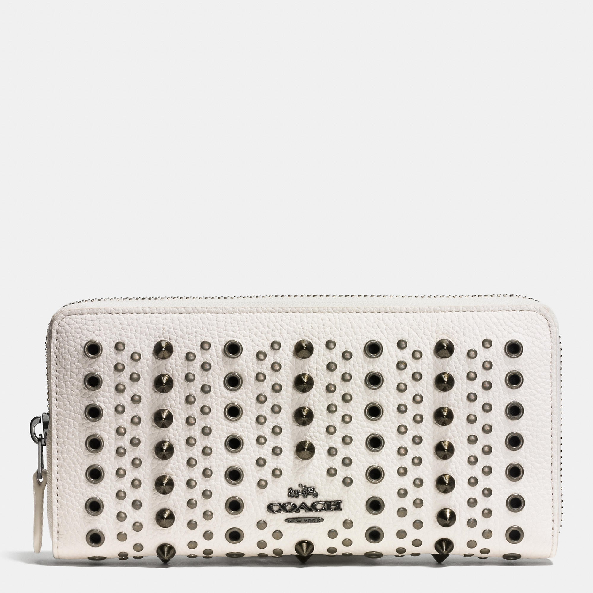Coach Accordion Zip Wallet With All Over Studs And Grommets