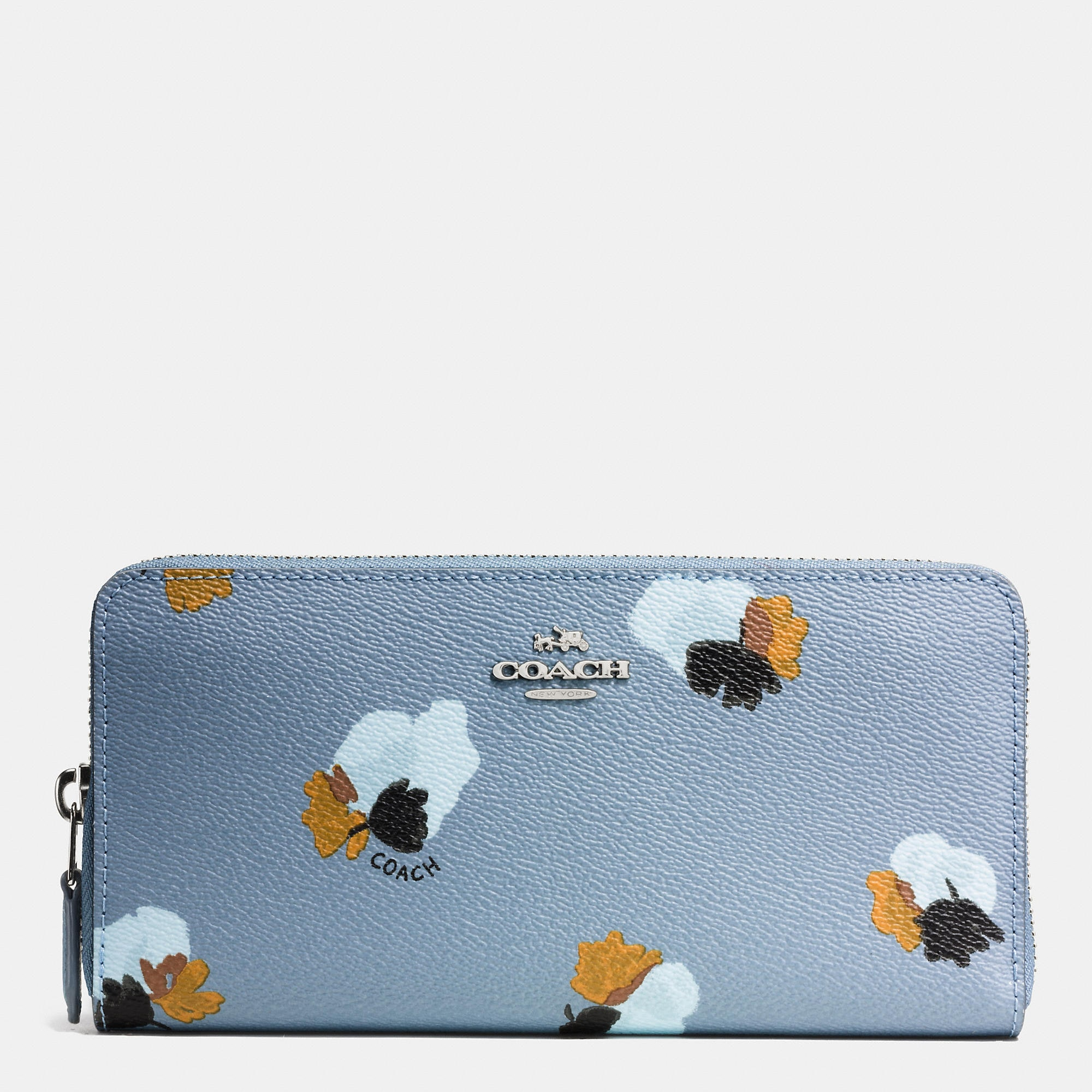 Coach Accordion Zip Wallet In Floral Print Coated Canvas