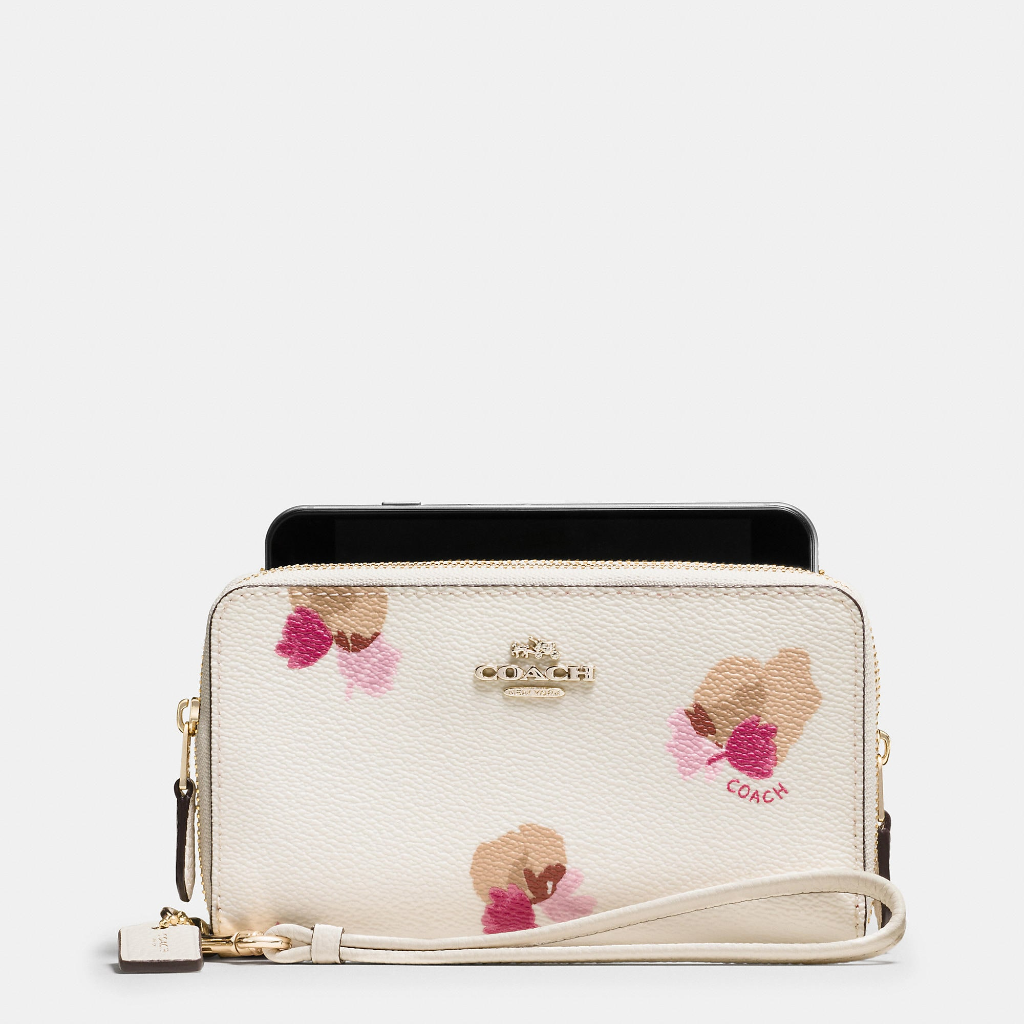 Coach Double Zip Phone Wallet In Floral Print Coated Canvas