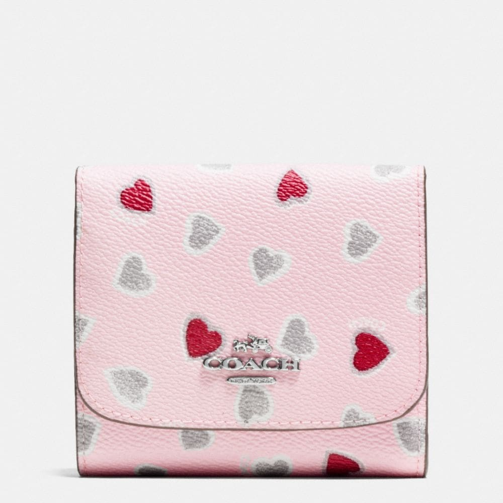 SMALL WALLET IN HEART PRINT COATED CANVAS