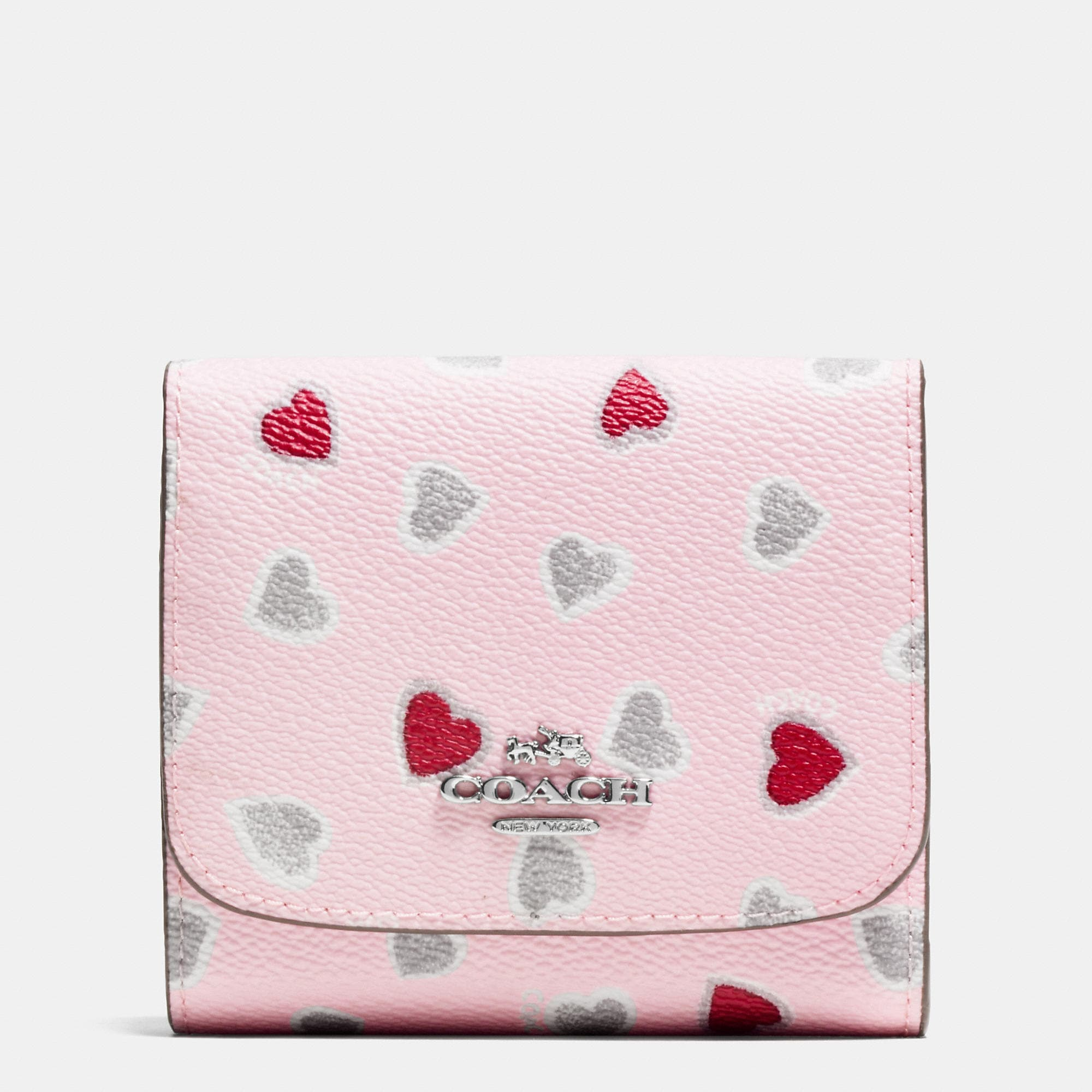 Coach Small Wallet In Heart Print Coated Canvas