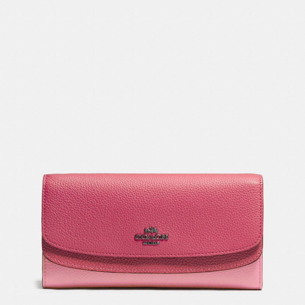 DOUBLE FLAP WALLET IN COLORBLOCK LEATHER
