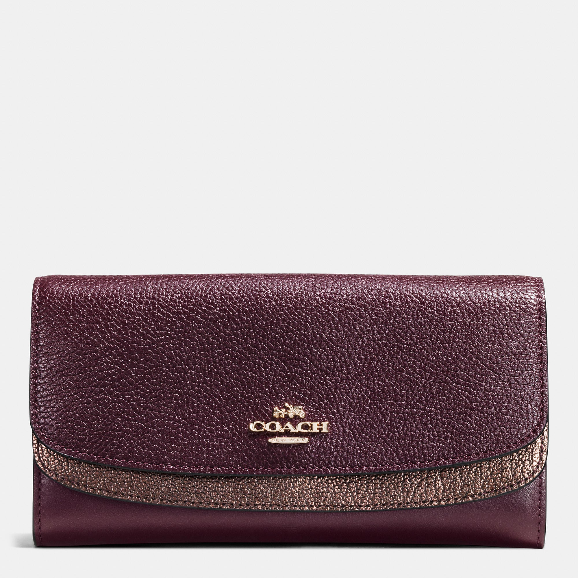 Coach Double Flap Wallet In Colorblock Leather