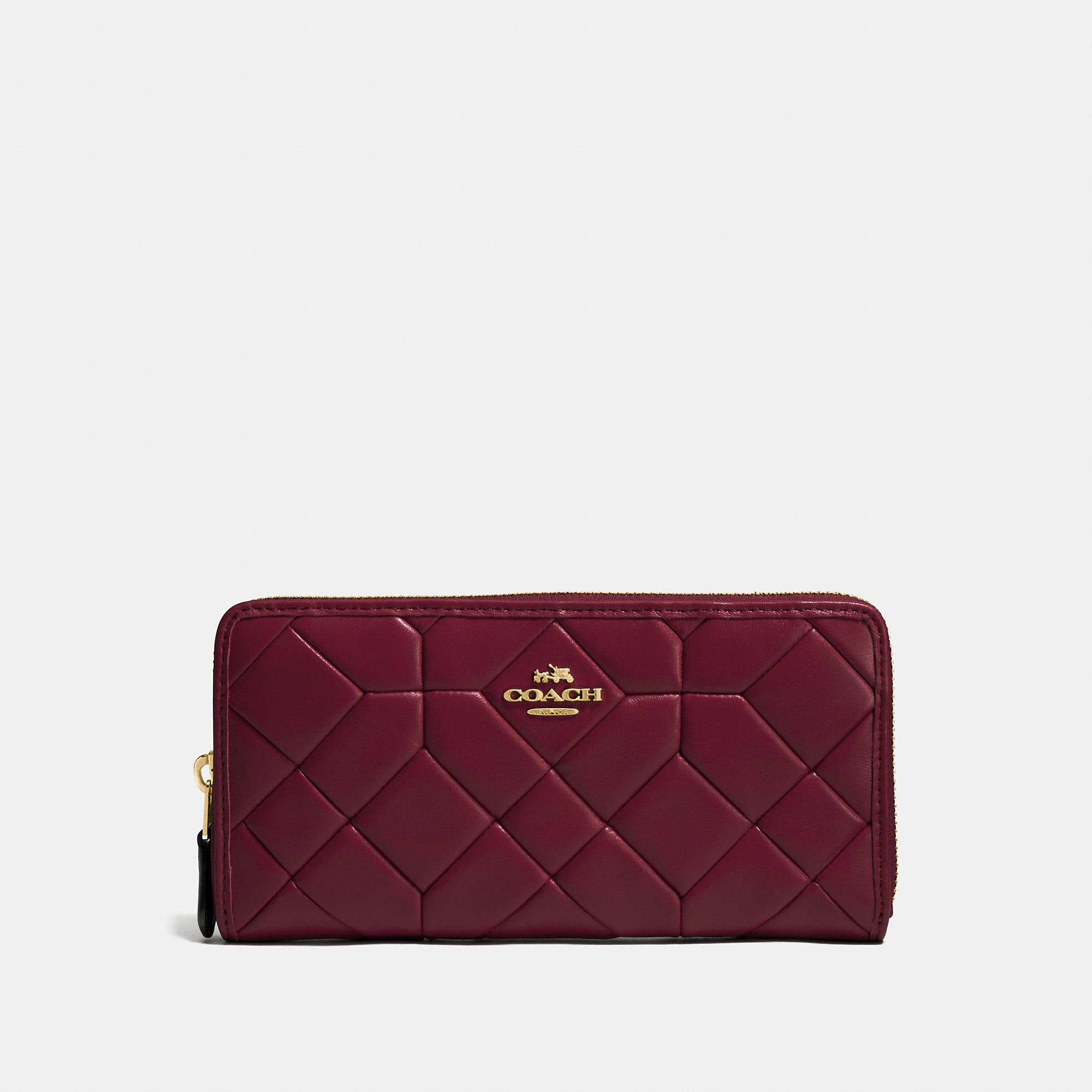 Coach Canyon Quilt Accordion Zip Wallet In Calf Leather