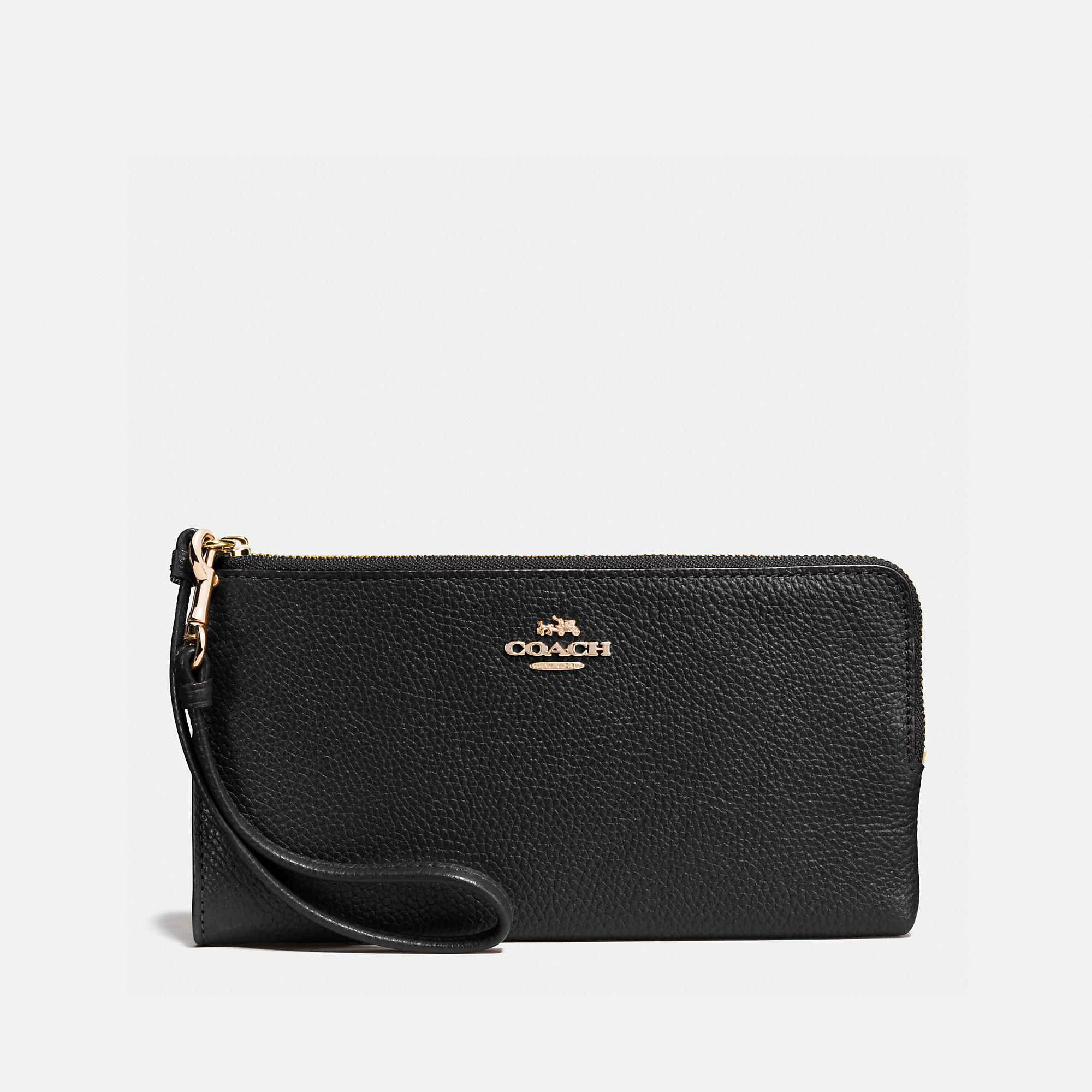 Coach Zip Wallet In Polished Pebble Leather