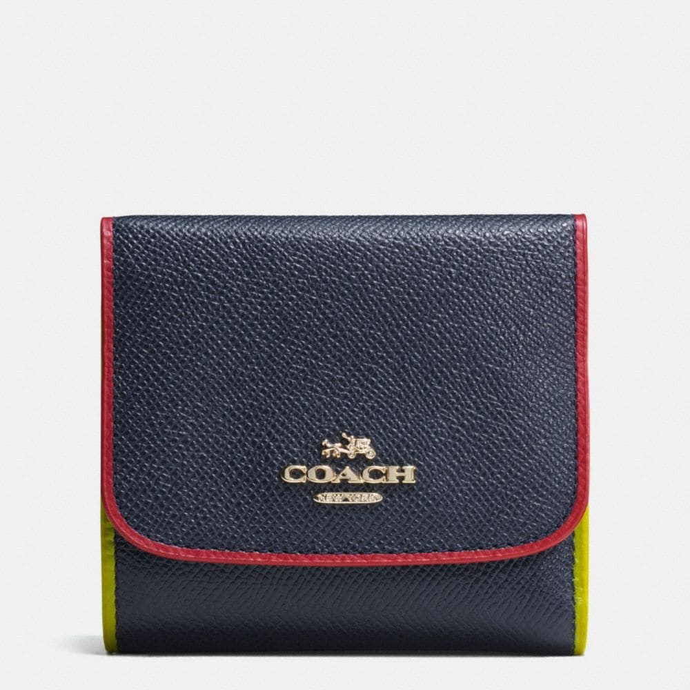TRICOLOR EDGESTAIN SMALL WALLET IN CROSSGRAIN LEATHER