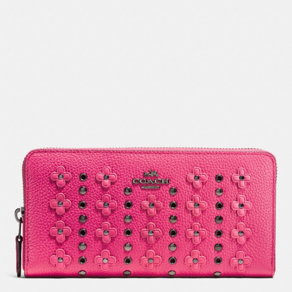 ACCORDION ZIP WALLET IN FLORAL RIVETS LEATHER