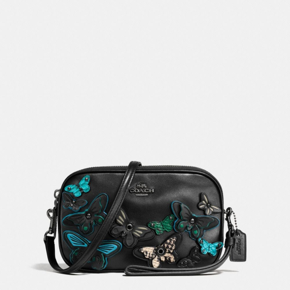 Coach Butterfly Applique Crossbody Clutch in Pebble Leather