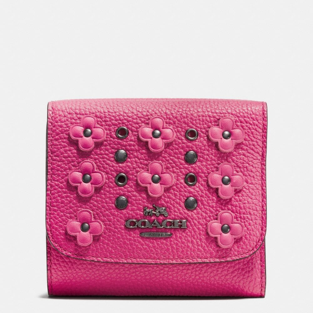 SMALL WALLET IN FLORAL RIVETS LEATHER
