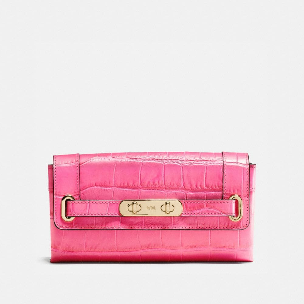 Coach Swagger Wallet in Croc Embossed Leather