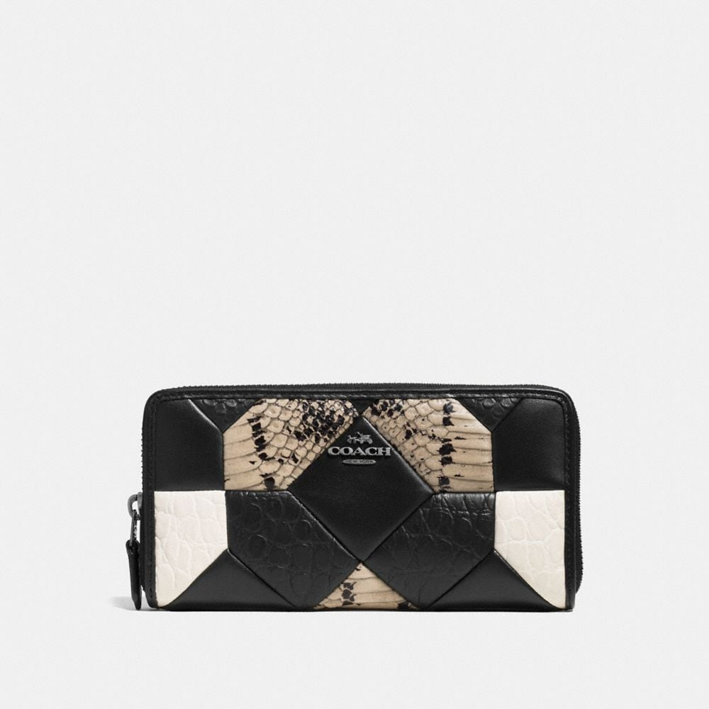 CANYON QUILT ACCORDION ZIP WALLET IN EXOTIC EMBOSSED LEATHER