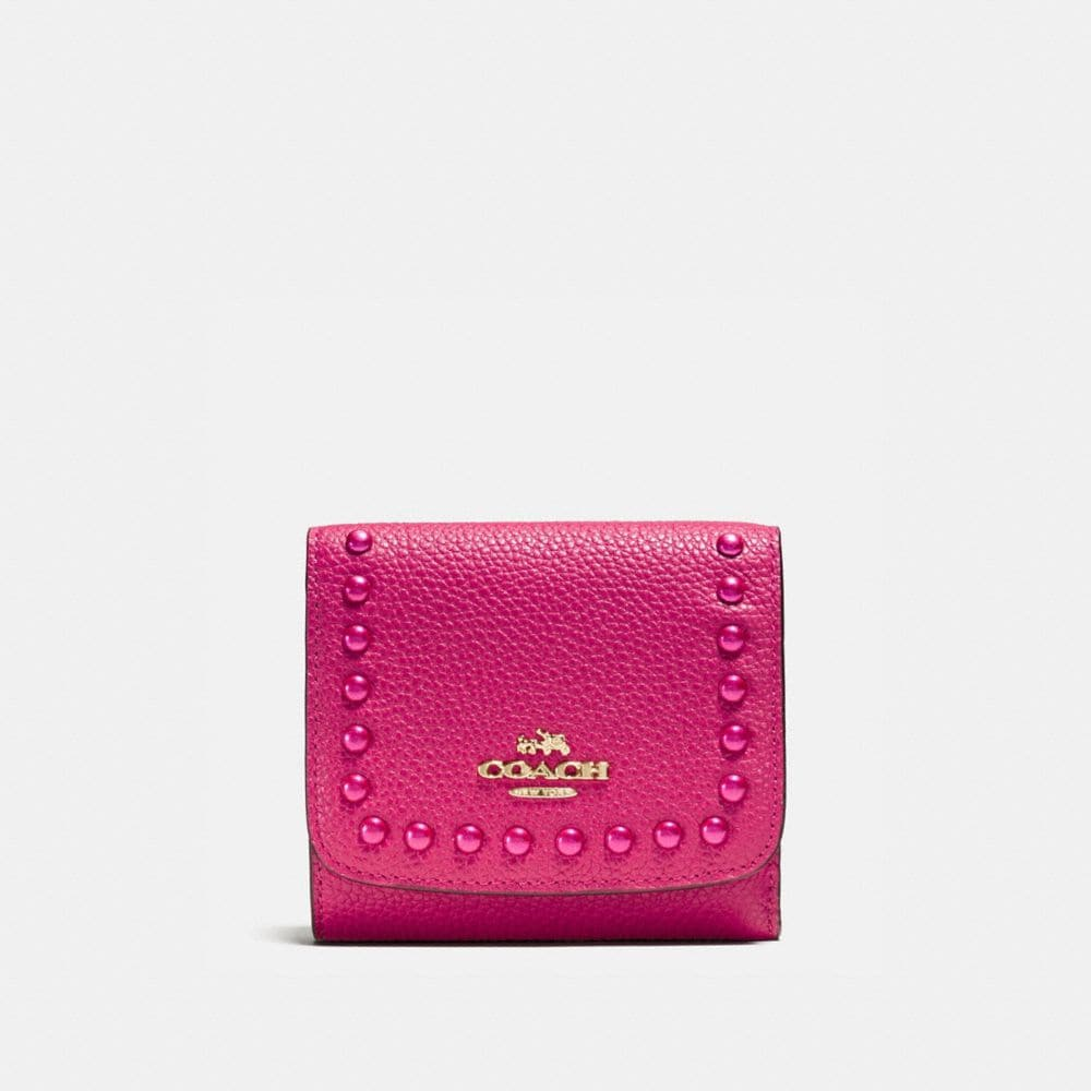 Lacquer Rivets Small Wallet in Pebble Leather