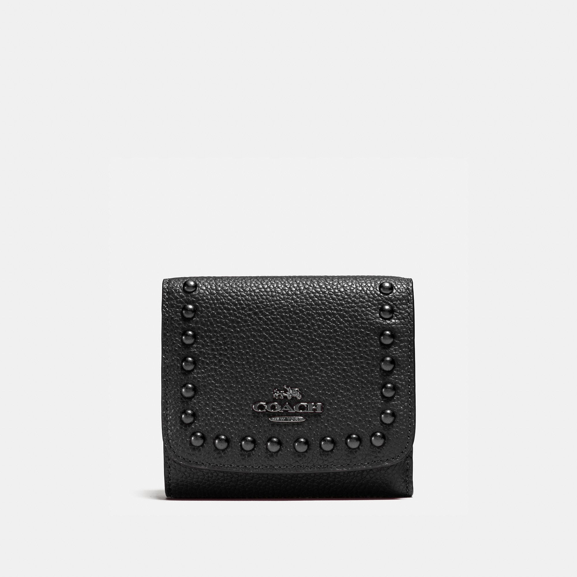 Coach Lacquer Rivets Small Wallet In Pebble Leather