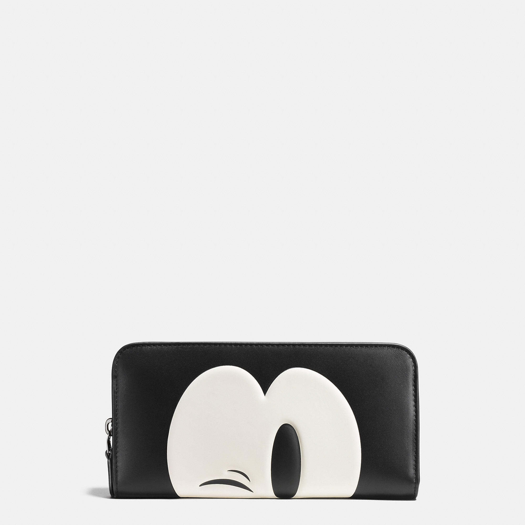 Coach Mickey Accordion Zip Wallet In Glovetanned Leather - Disney