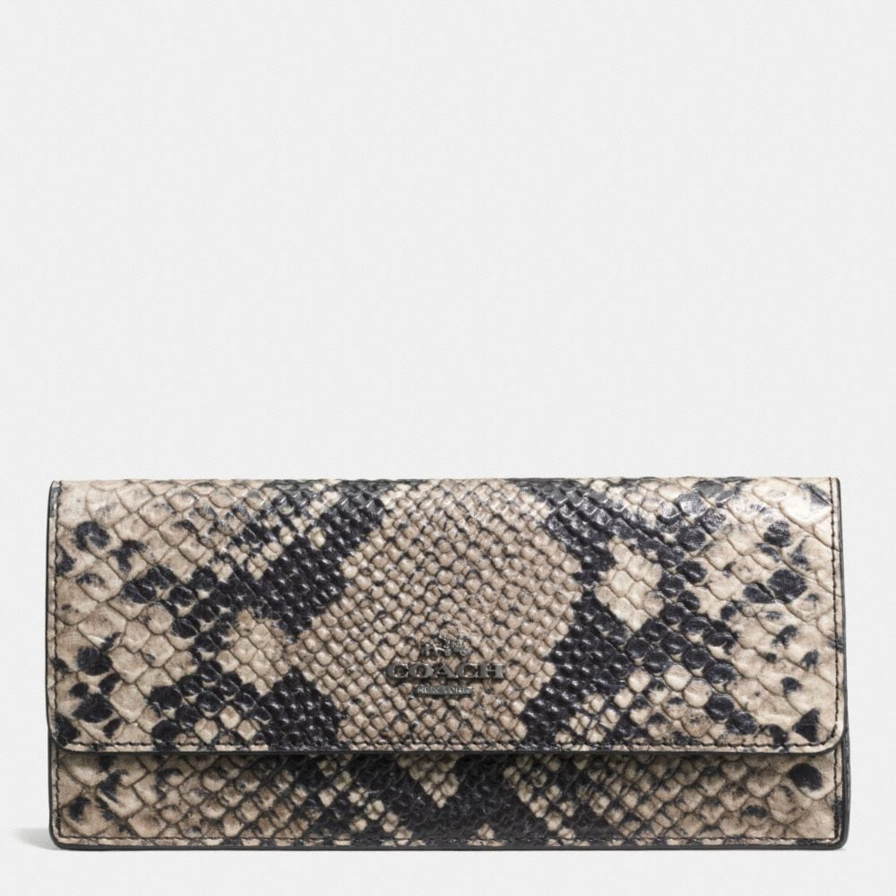 Soft Wallet in Python Embossed Leather