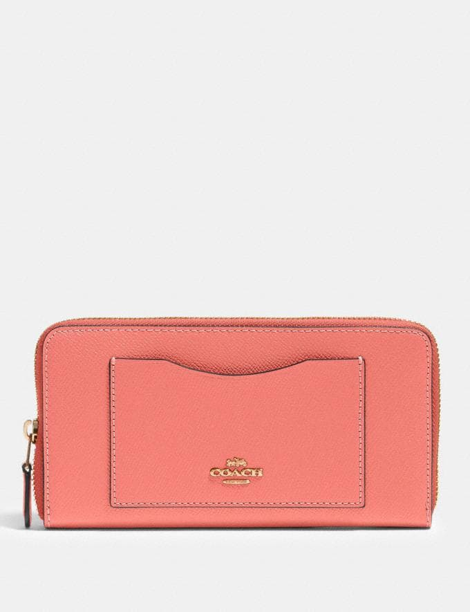 Coach Accordion Zip Wallet Im/Bright Coral Accessories