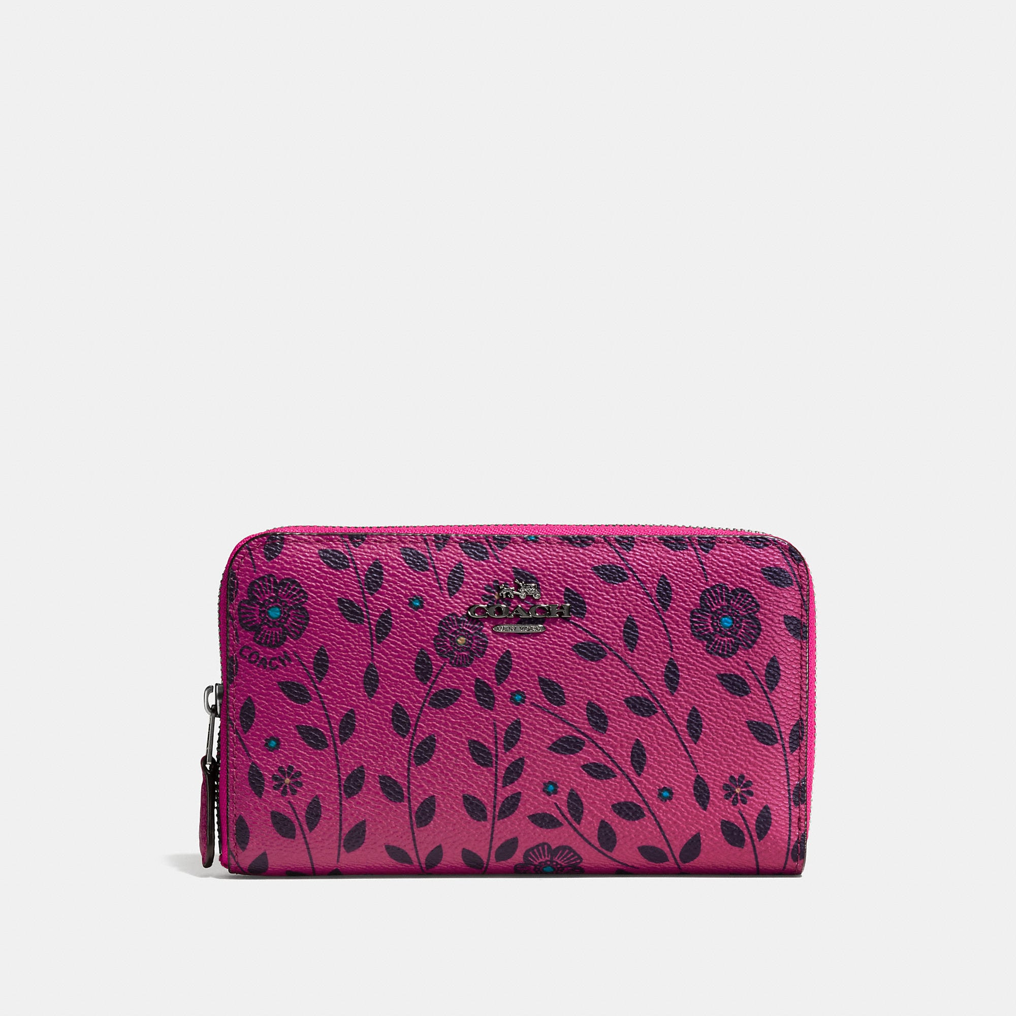 Coach Medium Zip Around Wallet In Willow Floral Coated Canvas