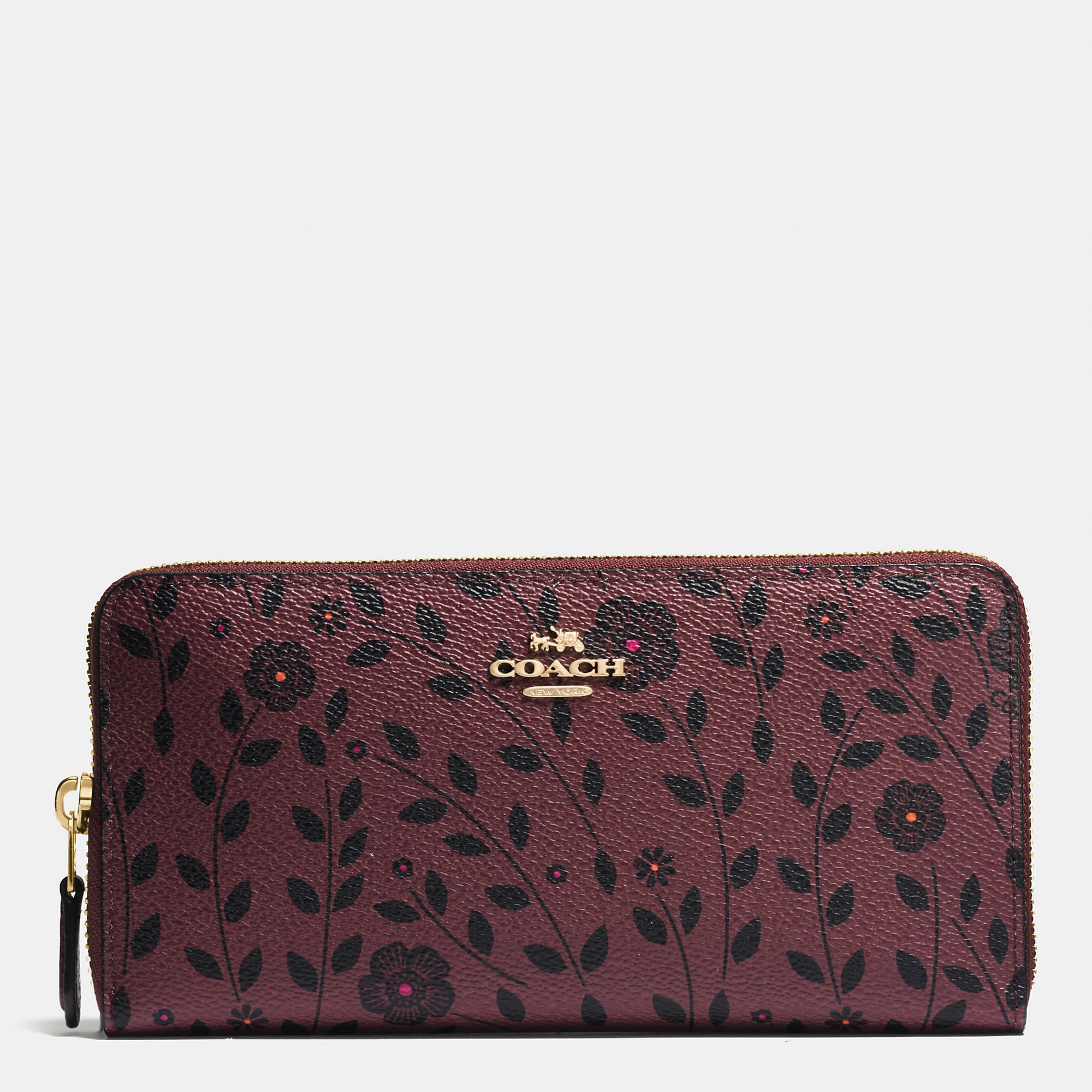 Coach Accordion Zip Wallet In Willow Floral Print Canvas