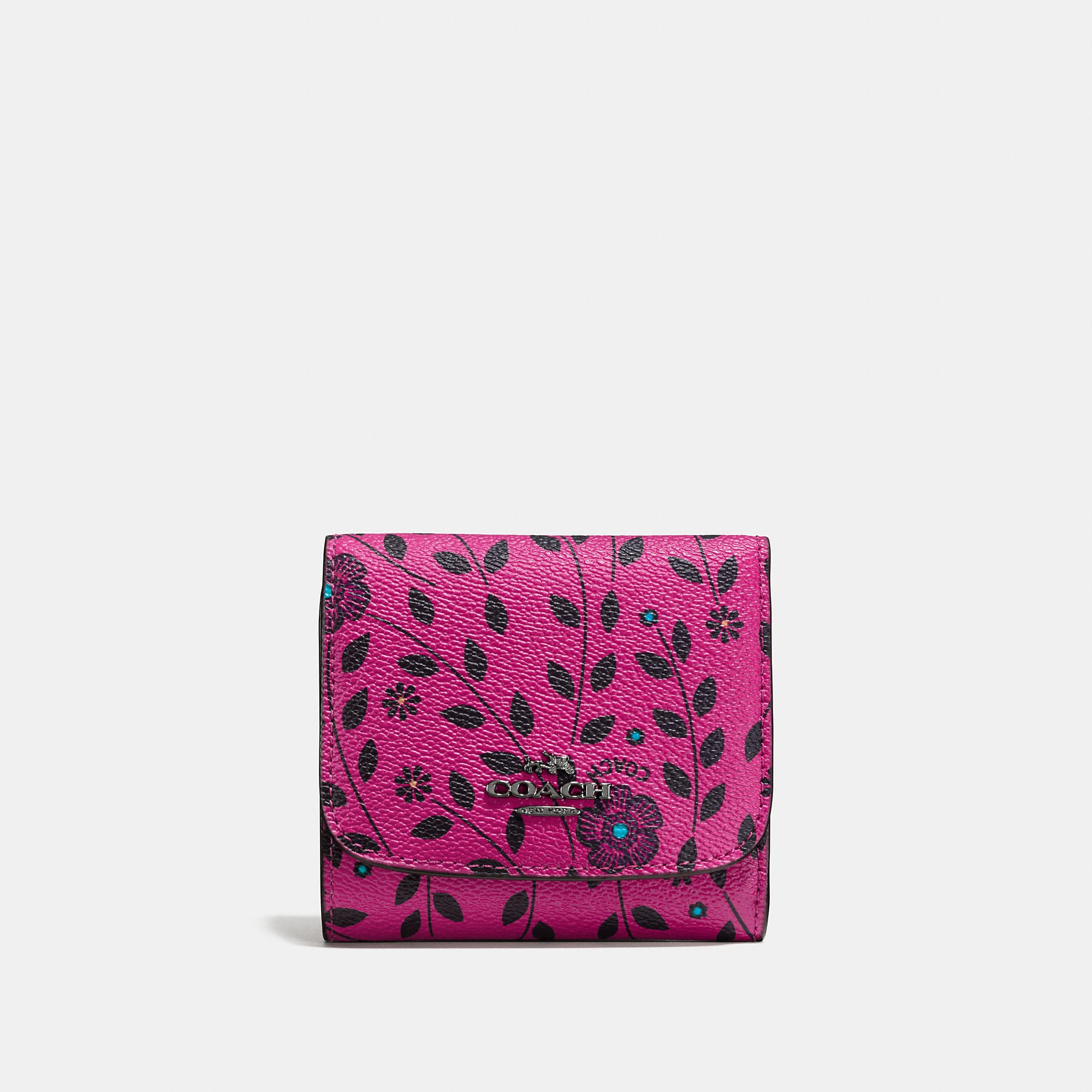 Coach Small Wallet In Willow Floral Print Coated Canvas