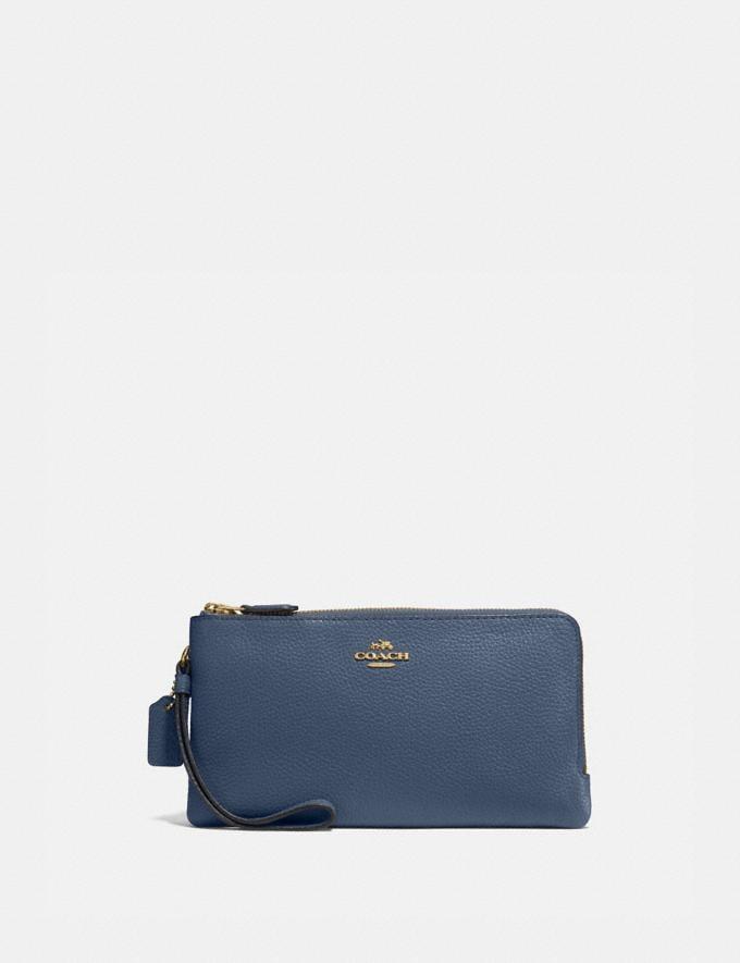 Coach Double Zip Wallet Brass/Dark Denim Women Wallets & Wristlets Large Wallets