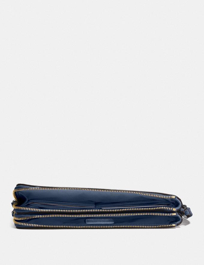 Coach Double Zip Wallet Brass/Dark Denim Women Wallets & Wristlets Large Wallets Alternate View 1