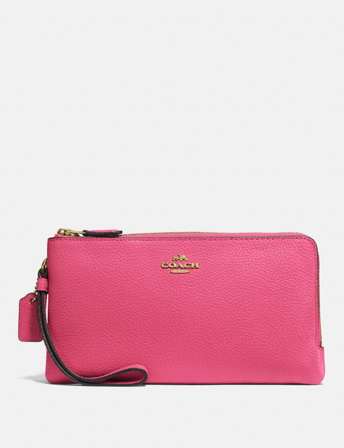 Coach Double Zip Wallet Brass/Confetti Pink Gifts For Her