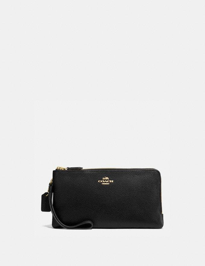 Coach Double Zip Wallet Gold/Black Women Wallet Guide Large
