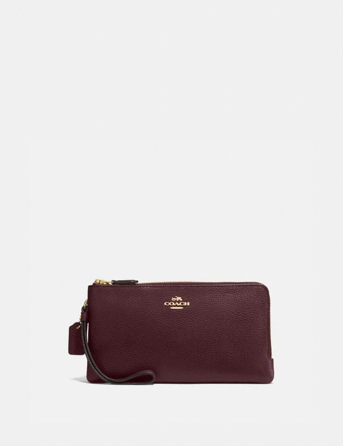 Coach Double Zip Wallet Gold/Oxblood SALE null Mother's Day Deals