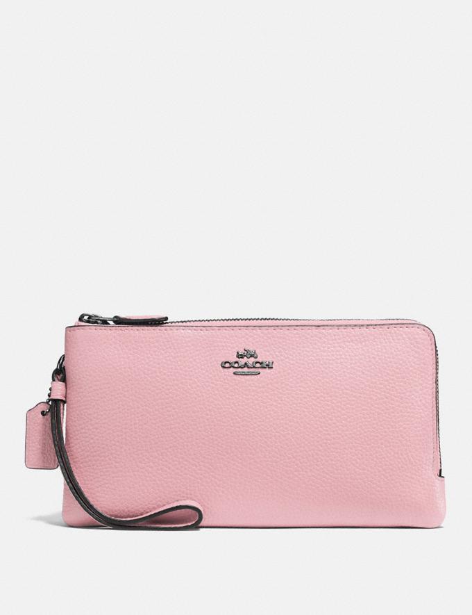 Coach Double Zip Wallet Pewter/Aurora Women Wallets & Wristlets Large Wallets